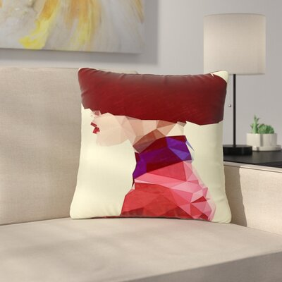 Mayka Ienova Chic Hat Illustration Outdoor Throw Pillow Size: 18 H x 18 W x 5 D