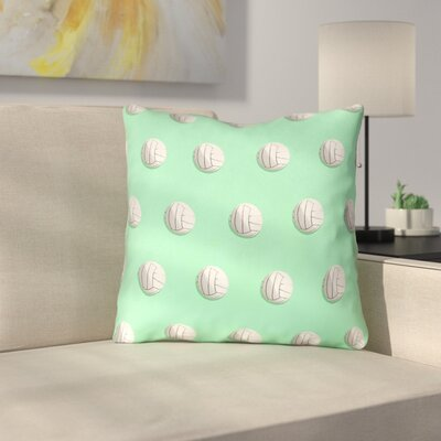 Volleyball 100% Cotton Throw Pillow Size: 16 x 16, Color: Green