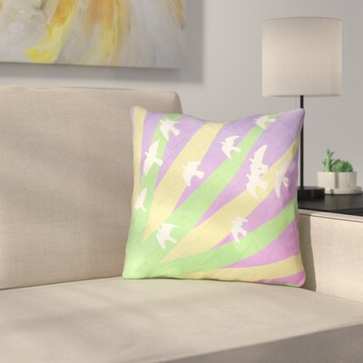 Kalie Birds and Sun Outdoor Throw Pillow Color: Green/Yellow/Purple, Size: 16 H x 16 W