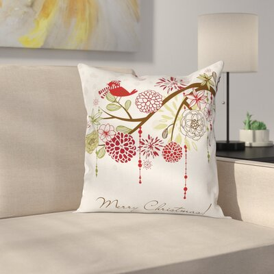 Christmas Bird Floral Tree Square Pillow Cover Size: 16 x 16