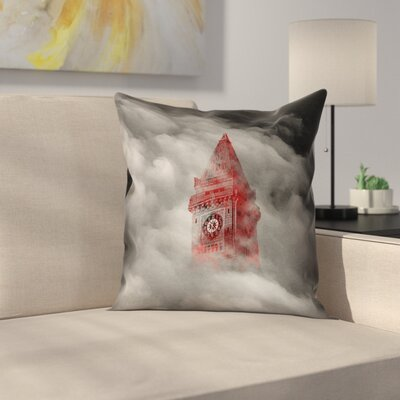 Watercolor Gothic Clocktower Double Sided Print Pillow Cover Size: 18 x 18