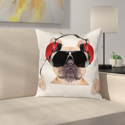 DJ Bulldog Music Square Pillow Cover Size: 20 x 20