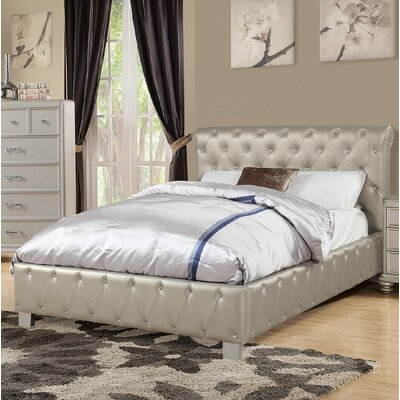 Kingsview Upholstered Platform Bed Size: California King, Color: Silver