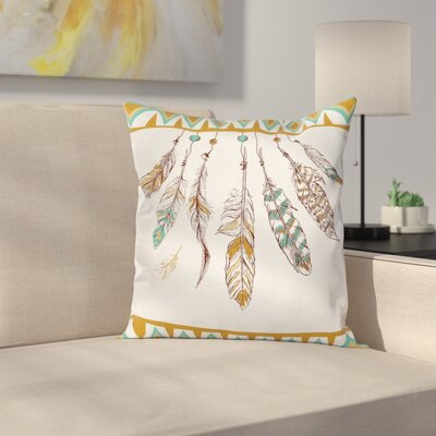 Mystic Case Boho Style Feather Old Square Pillow Cover Size: 24 x 24