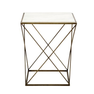 Doncaster Iron and Marble Beam End Table