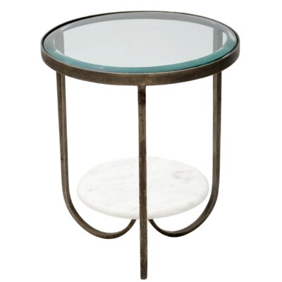 Hinnant Iron, Glass and Marble Trio End Table