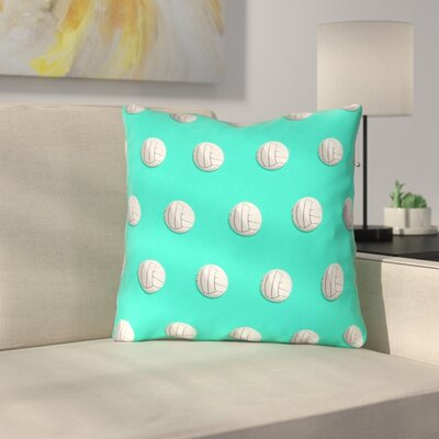 Double Sided Print Down Alternative Volleyball Throw Pillow Size: 14 x 14, Color: Teal