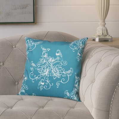 Cecilia Morning Birds Floral Outdoor Throw Pillow Size: 20 H x 20 W, Color: Teal