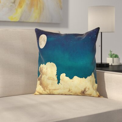 Night Sky Stars Full Moon Cloud Square Pillow Cover Size: 16 x 16