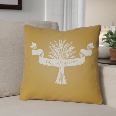 Thanksgiving Indoor/Outdoor Throw Pillow Size: 20 H x 20 W x 4 D, Color: Yellow/White
