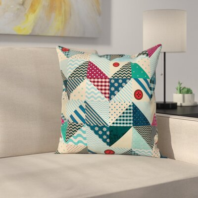 Chevron Vintage Patchwork Art Square Pillow Cover Size: 18 x 18