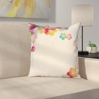 Cartoon Abstract Japanese Art Square Pillow Cover Size: 16 x 16