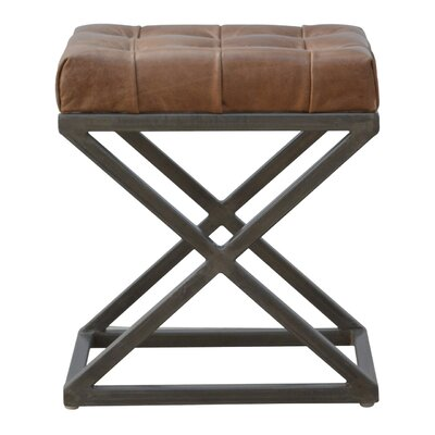 Crisman Industrial Cross Base D-Button Leather Seat Pad Upholstered Dining Chair