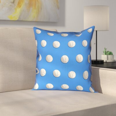 Volleyball Suede Pillow Cover Size: 14 x 14, Color: Blue