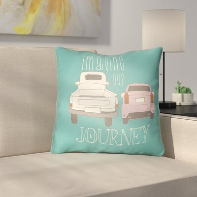Cherlyn Imagine Our Journey Throw Pillow Size: 18 H x 18 W x 4 D, Color: Turquoise