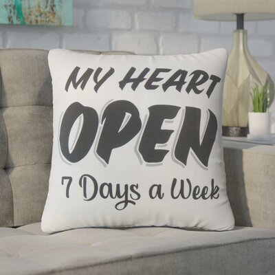 Wiseman My Heart Open Text Cotton Throw Pillow