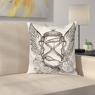Hourglass Wings Roses Square Pillow Cover Size: 18 x 18
