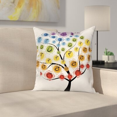 Asian Yoga Tree with Chakras Square Pillow Cover Size: 18 x 18