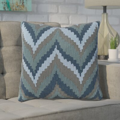 Stallworth Cotton Throw Pillow Size: 22 H x 22 W x 4 D, Color: Marine Blue / Slate Blue / Pewter, Filler: Down