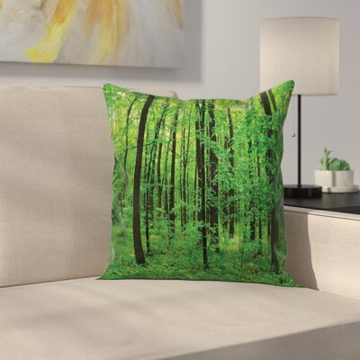Forest Bush Rural Square Pillow Cover Size: 16 x 16