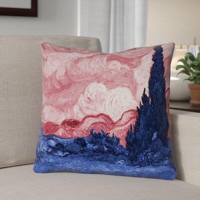 Lapine Wheatfield with Cypresses Suede Throw Pillow Color: Red/Blue, Size: 26 x 26