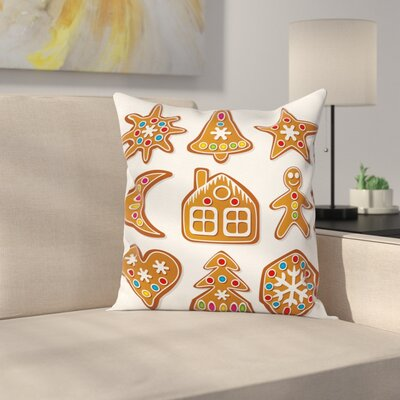 Gingerbread Man Sugar Biscuits Square Pillow Cover Size: 16 x 16