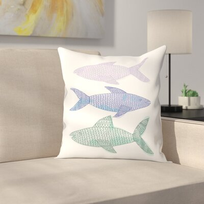 Jetty Printables Tribal Fish Trio Throw Pillow Size: 18 x 18