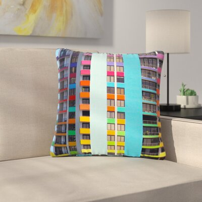 Philip Brown the Rainbow Building Modern Outdoor Throw Pillow Size: 18 H x 18 W x 5 D