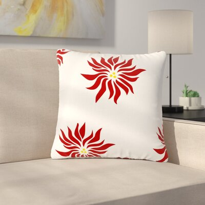 NL Designs Poinsettias Outdoor Throw Pillow Color: White, Size: 18 H x 18 W x 5 D