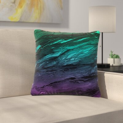Ebi Emporium Agate Magic Abstract Geological Painting Outdoor Throw Pillow Color: Green/Plum/Ombre, Size: 18 H x 18 W x 5 D