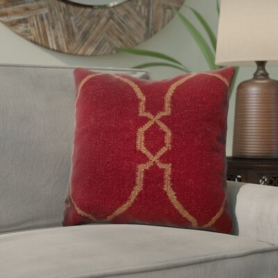 Cosima Throw Pillow Size: 22 H x 22 H x 4 D, Color: Red / Tan, Filler: Down
