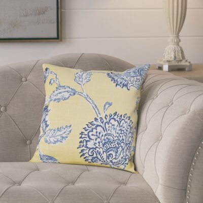 Monegro Linen Throw Pillow Color: Blue and Yellow, Size: 20 H x 20 W