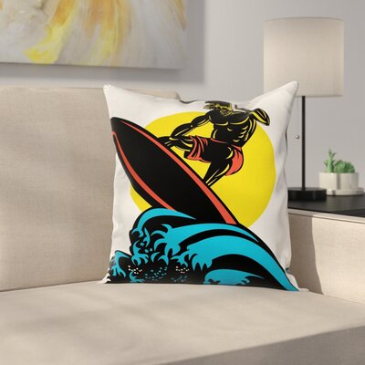 Man on Sea Waves Square Cushion Pillow Cover Size: 24 x 24