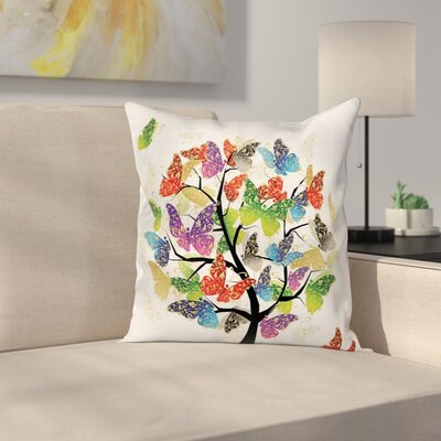 Floral Butterfly Leaf Cushion Pillow Cover Size: 16 x 16