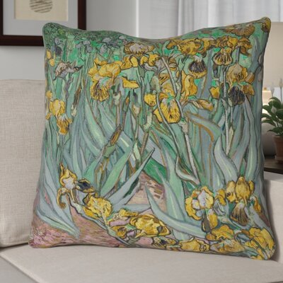 Bristol Woods Irises 100% Cotton Twill Pillow Cover Color: Yellow, Size: 18 x 18