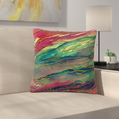 Ebi Emporium Agate Magic Abstract Geological Painting Outdoor Throw Pillow Color: Bold/Red/Aqua, Size: 18