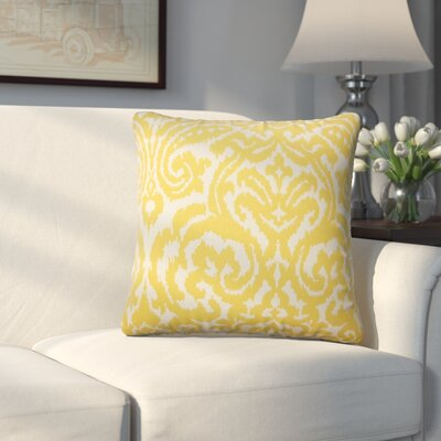 Millington Ikat Cotton Throw Pillow Color: Pollen