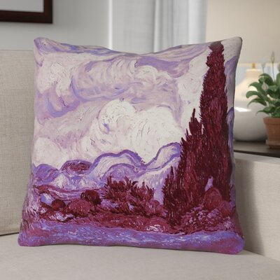 Lapine Mauve Wheatfield with Cypresses Waterproof Throw Pillow Size: 18 H x 18 W