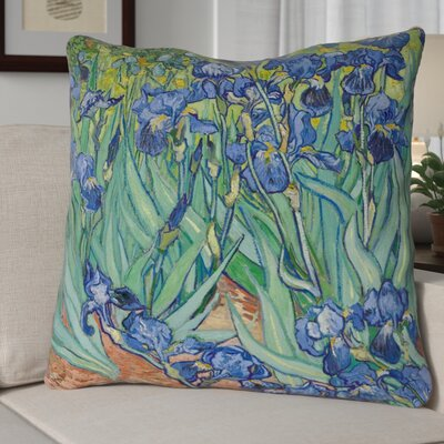 Morley Irises Square Concealed Pillow Cover Color: Blue