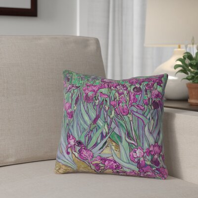 Morley 20 x 20 Irises Throw Pillow Color: Purple/Green, Size: 14 x 14