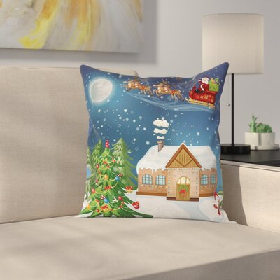 Christmas Santa with Rudolf Square Pillow Cover Size: 24 x 24