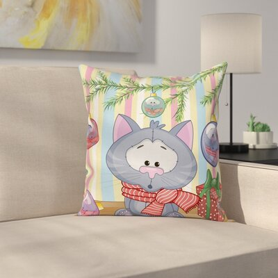 Christmas Kitten Gift and Tree Square Pillow Cover Size: 24 x 24