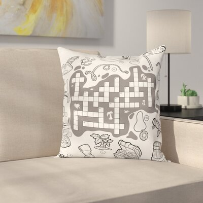 Puzzle Pirate Theme Square Cushion Pillow Cover Size: 16 x 16