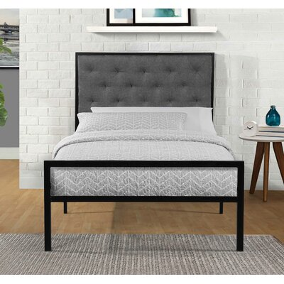Hartin Upholstered Platform Bed Size: Twin, Color: Gray