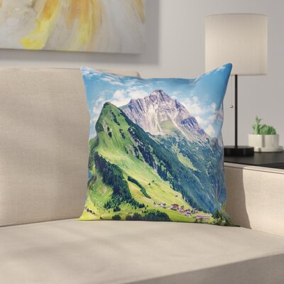 Nature Spring Scene Mountain Square Pillow Cover Size: 16 x 16