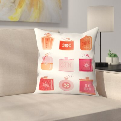 Flask Collection Throw Pillow Size: 14 x 14