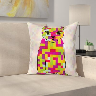 Modern Cute Cat Digitals Square Pillow Cover Size: 18 x 18