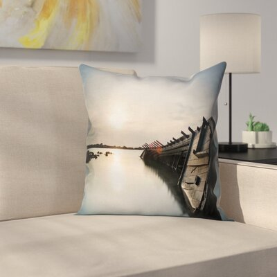 Nautical Sinking Boat Sunset Square Pillow Cover Size: 16