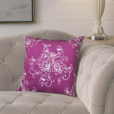Cecilia Morning Birds Floral Outdoor Throw Pillow Size: 20 H x 20 W, Color: Purple