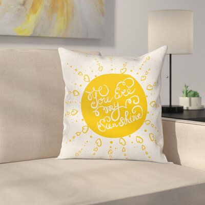 Heart Shaped Sunbeams Square Pillow Cover Size: 18